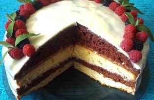 """Бисквитный торт со сметанным кремом """"Полосатое лакомство"""" (пошаговый фото рецепт)"""