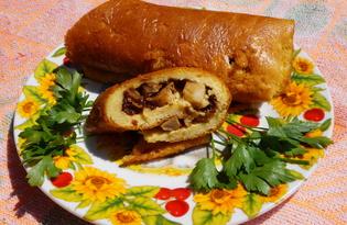 Рулет с курицей и грибами (пошаговый фото рецепт)