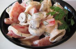 Салат из макарон и куриных сердечек (пошаговый фото рецепт)