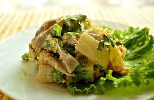 Салат с курицей и арахисом (пошаговый фото рецепт)