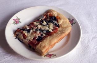 Пицца с шампиньонами и листьями крапивы (пошаговый фото рецепт)