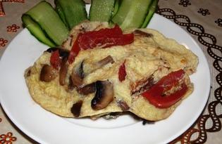Омлет с помидорами и шампиньонами (пошаговый фото рецепт)