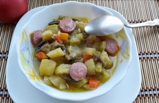Овощное рагу с сосисками в мультиварке (пошаговый фото рецепт)