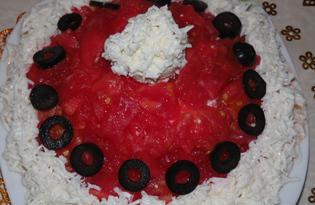 """Салат с курицей и помидорами """"Красная шапочка"""" (пошаговый фото рецепт)"""