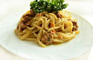 Спагетти с фаршем под молочно-соевым соусом (пошаговый фото рецепт)