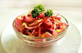 """Салат со свеклой и капустой """"Рубиновый"""" (пошаговый фото рецепт)"""