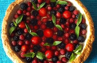 Песочный пирог с кремом и ягодами в желе (пошаговый фото рецепт)