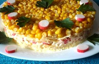 Салат с крабовыми палочками, сыром и ананасами (пошаговый фото рецепт)