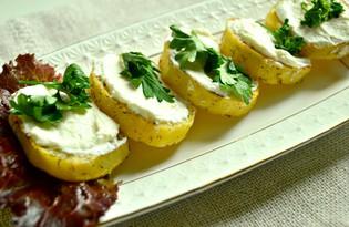 Закуска из печеного картофеля и творога (пошаговый фото рецепт)