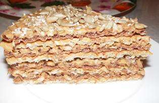 Торт из вареной сгущенки и вафельных коржей (пошаговый фото рецепт)