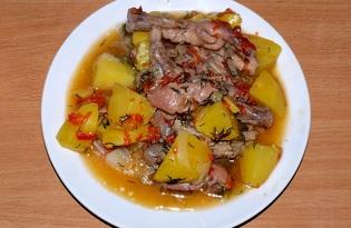 Куриные лапки и желудки, тушённые с овощами (пошаговый фото рецепт)