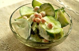 Простой салат с огурцами и белой фасолью (пошаговый фото рецепт)