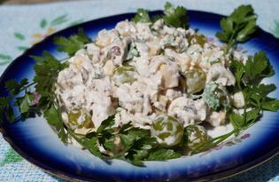 Салат с курицей, орехами и ананасами (пошаговый фото рецепт)