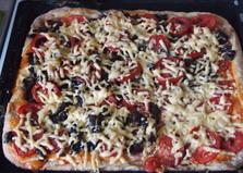 Пицца на кефире с колбасой, грибами и помидорами (пошаговый фото рецепт)