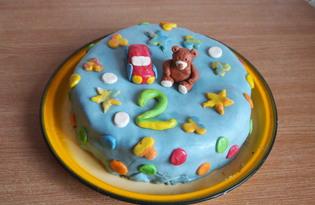 Шоколадный торт с фруктами, украшенный мастикой (пошаговый фото рецепт)