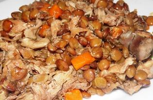 Чечевица с куриной тушенкой в мультиварке Delfa (пошаговый фото рецепт)