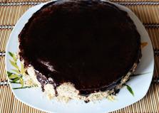 Бисквитный торт с шоколадной глазурью (пошаговый фото рецепт)
