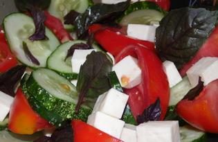 Греческий салат со свежим базиликом (пошаговый фото рецепт)