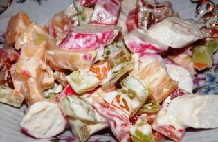 Салат из крабовых палочек, сыра и болгарского перца (пошаговый фото рецепт)