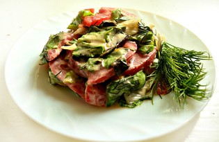 Салат с луком, зеленью и помидорами (пошаговый фото рецепт)