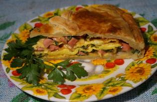 Пирог с ветчиной и сыром из слоеного теста (пошаговый фото рецепт)