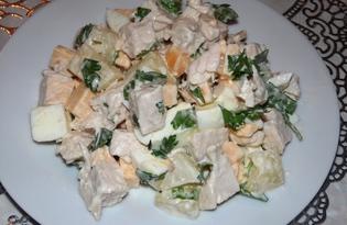 Салат из ананасов, куриного филе и сыра (пошаговый фото рецепт)