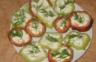 Закуска из болгарского перца с творогом и чесноком (пошаговый фото рецепт)
