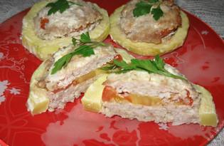 Кабачок, фаршированный мясным фаршем и помидором (пошаговый фото рецепт)