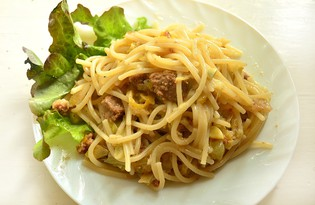 Спагетти с капустой и кабачками (пошаговый фото рецепт)