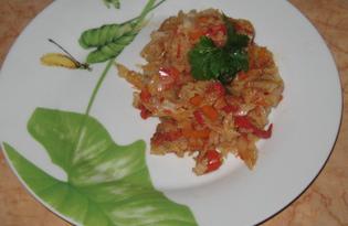 Капуста тушёная с болгарским перцем и помидорами (пошаговый фото рецепт)
