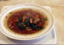 Суп с чечевицей, свининой и шпинатом (пошаговый фото рецепт)