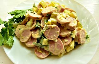 Салат с зеленым перцем и молочными сосисками (пошаговый фото рецепт)