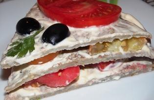 Закусочный торт из баклажанов (пошаговый фото рецепт)