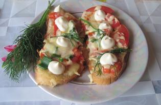 Горячие бутерброды с сыром, свежими помидорами и зелёным луком (пошаговый фото рецепт)