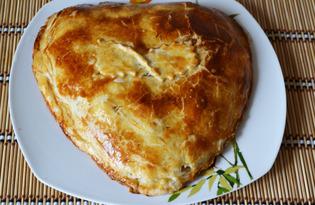 Яблочный пирог из слоеного бездрожжевого теста (пошаговый фото рецепт)