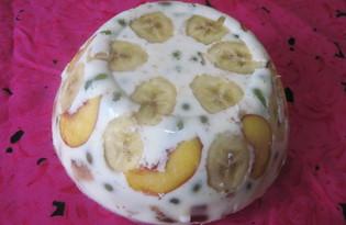 Десерт с фруктами из творожной массы и печенья (пошаговый фото рецепт)