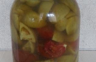 Острые зеленые помидоры на зиму (пошаговый фото рецепт)