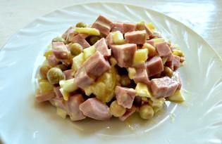 Простой салат с докторской колбасой (пошаговый фото рецепт)