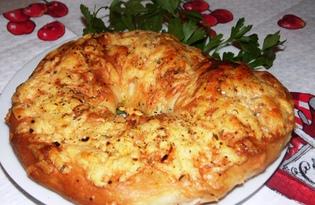 Хлебное кольцо с сыром (пошаговый фото рецепт)