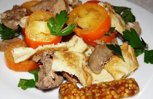Теплый салат из куриной печени, омлета и помидоров (пошаговый фото рецепт)