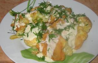 Цветная капуста в кляре в сливочно-чесночном соусе (пошаговый фото рецепт)