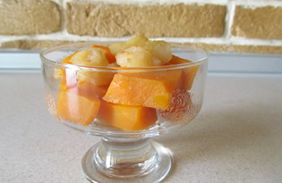 Запеченная тыква с яблоками в медовом сиропе (пошаговый фото рецепт)