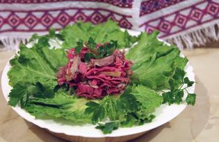 Салат из жареной курицы и маринованных овощей (пошаговый фото рецепт)