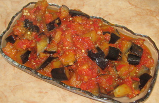 Острая закуска из баклажанов с помидорами (пошаговый фото рецепт)