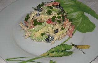 Салат с курицей и авокадо (пошаговый фото рецепт)
