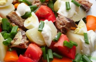 Салат с рыбной консервой и картофелем (пошаговый фото рецепт)