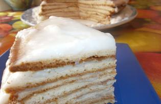 Медовик с заварным молочным кремом (пошаговый фото рецепт)