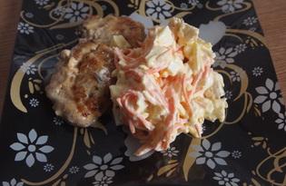 """Салат с корейской морковью, сыром и курицей """"Хорошее настроение"""" (пошаговый фото рецепт)"""