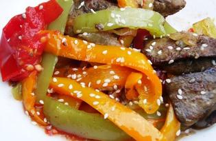 Теплый салат из куриной печени в мультиварке Delfa (пошаговый фото рецепт)
