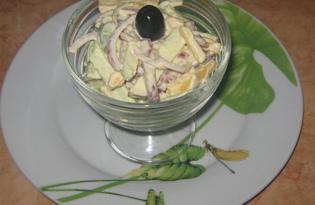 Салат с яблоком, сыром и колбасой (пошаговый фото рецепт)